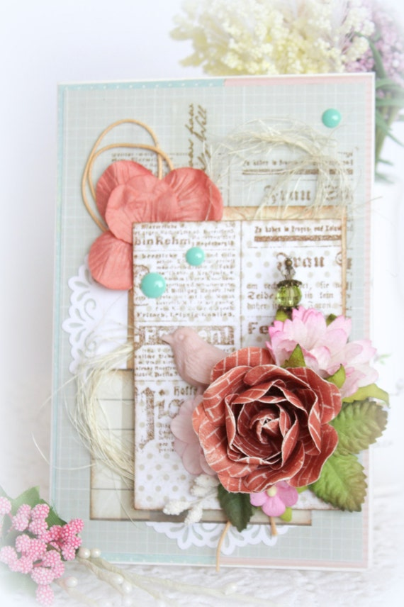 Crafted scrapbooking card greeting postcard