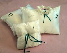 Made to Order! Wedding Sets! Ring pillow, kneeling pillow, and garter!