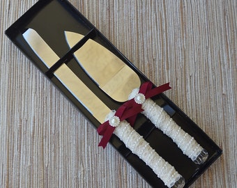 Unique Wedding Cake Knife Set,Burgundy Satin Ribbon and Victorian Ivory or White Lace, Vintage Wedding, Shabby Chic Cake Cutters
