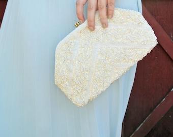60s Vintage White Beaded Clutch | Vintage Handbag | Vintage Accessories