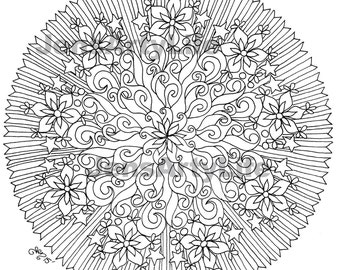 Fire and Ice Mandala/ Kaleidoscope adult coloring Page