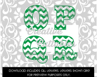 Chevron Letters Uppercase for  Silhouette or other craft cutters (.svg/.dxf/.eps)
