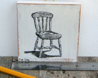 Miniature painting - black and white chair print, Kitchen decor,  print on wood, wall art print, Hipster decor, Mothers day gift