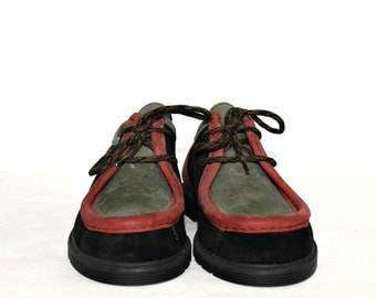 Vintage Leather shoes Made in Germany Multicolored Leather Boat shoes Sperry Top Sider shoes Hipster shoes Sport Lace up shoes Small size