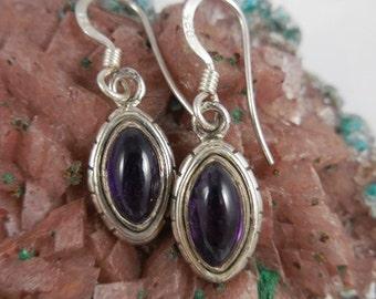 Sterling Silver Amethyst Purple Dangle Earrings