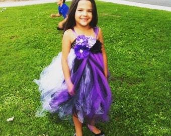 Purple and Black tulle dress, flower girl, dress up, princess