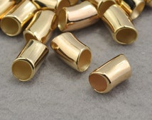 Bend Tube Beads,Gold Charm Holder Spacer Bail Link,CCB Material Spacer Bead,Gold Hole CCB Jewelry Beads