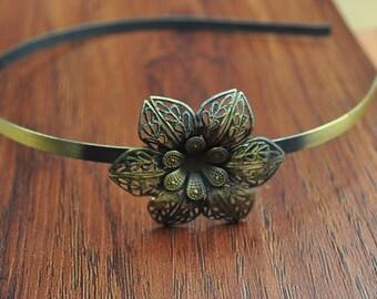 Bronze Metal Headband--5pc Antique Bronze Headband With Filigree Floral Accessories,Hairband Headband For Women,Teenage Girls