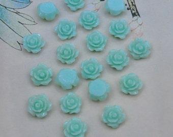 50pcs Rose Charms--Cyan Resin Rose Flower Cabochon 8mm/Flat back Necklace, Pendants.