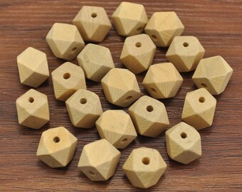 50pcs Natural Polyhedron Faceted Cube Wooden Beads 12mm,Geometric Wood Beads,DIY, Jewelry Supply, Wood Crafts
