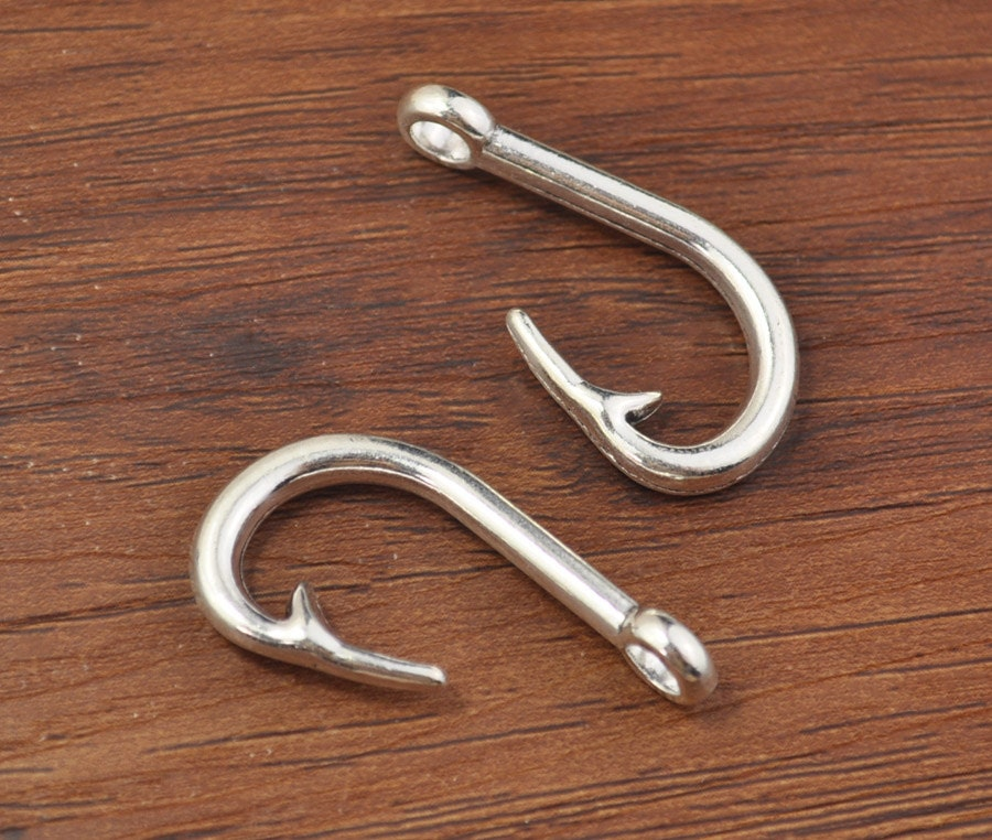 50pcs fish hook charms antiqued silver 3d fishing charms for Fish hook charm