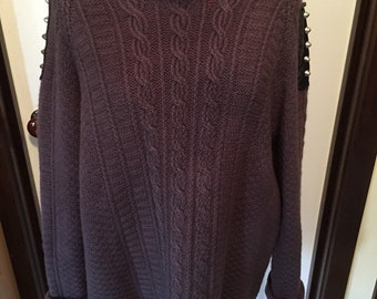 Purple Cable Knit Sweater With Studded Shoulder Detail