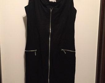 90s Black Zip Dress