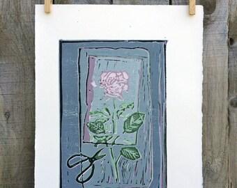 """Séparé, Reductive Color Linocut Print, # 4/7, 7""""x11"""""""
