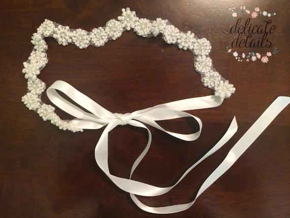 Colleen, pearl beaded headband ( white)