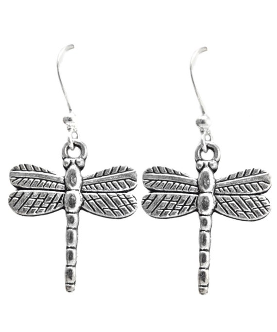 Dainty Dragonfly Earrings Antiqued Silver tone