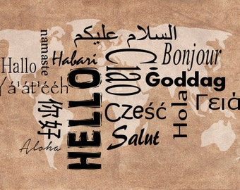 "Printable ""Hello"" from Around the World note card"