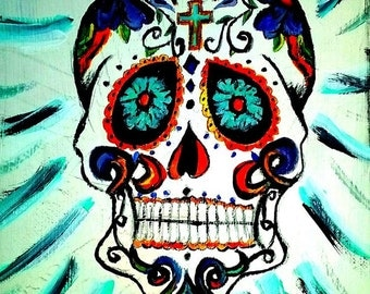 """Day of The Dead- 8""""x10"""" acrylic on canvas"""