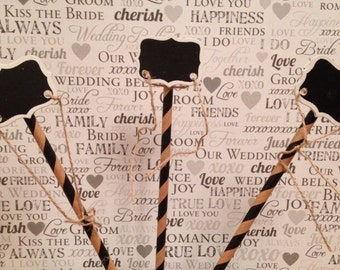 Set of 3 Cake topper display centerpiece chalkboard sticks