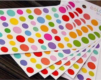 6 Sheets Rainbow Dots Diary Decor Sticker Set Colorful Paper Sticker Set