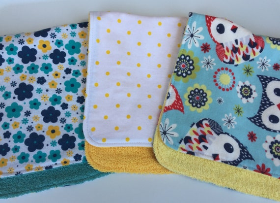 Flowers, Polka Dots and Owls Burp Cloths