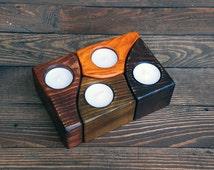 Wood Candle Holder, Wooden Candle Holder, Candle Holder Centerpiece, Candle Holder Set, Candles