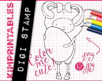 Easter Bunny Costume Girl with Easter Egg - Digital Stamp Element - Instant Download Digi Stamp Graphics by KimPrintables