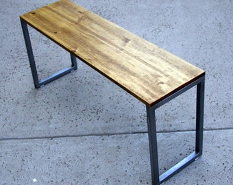 Steel Bench with Wood Seat