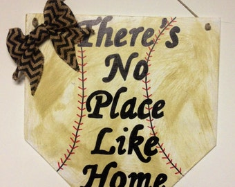 Theres no place like home sign, home plate sign, baseball home plate sign, home plate front door sign, baseball stitch sign, baseball decor