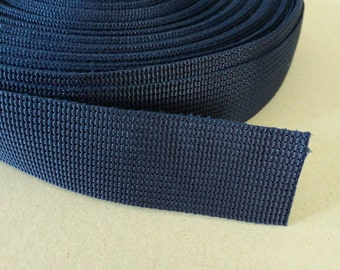 5 Yards, 1.25 inch (3.2 cm.), Polypropylene Webbing , Navy Blue, Key Fobs, Bag Straps, Purses Straps, Belts, Tote Bag Handle.