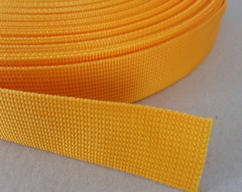 5 Yards, 1 inch. (2.5 cm.), Polypropylene Webbing, Orange, Key Fobs, Bag Straps, Purses Straps, Belts, Tote Bag Handle.