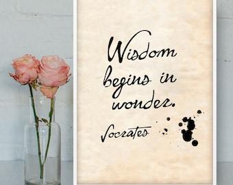 Wisdom begins in wonder Socrates printable quote, Philosophy quotes prints, Printable wall art, Socrates poster wall art, Socrates quotes