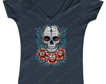 Sugar Skull Red Rose - Ladies' V-neck