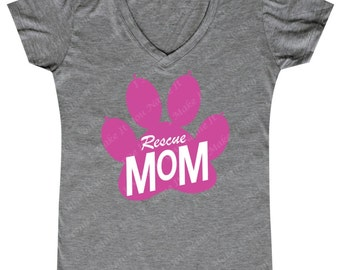 Rescue Mom - Ladies' V-neck