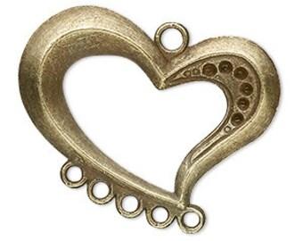 Heart Chandelier, Antiqued Brass, 5 loops, 36x27mm, 2 each, D504