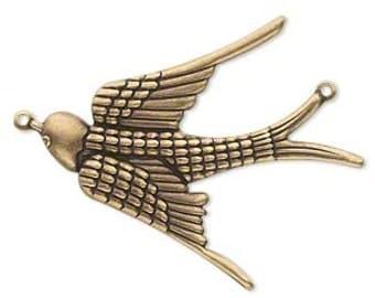 Brass Swallow, Bird in Flight, Brass Bird Charm, Bird Pendant, Steampunk, 38x32mm, 2 each, D286
