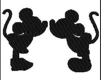 Minnie & Mickey Mouse Kissing Embroidery Design
