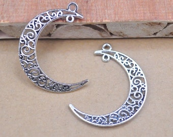 Silver Moon, Moon Charm, Moon Pendant,Antique Silver Tone Moon Pendant Charm Finding,Craft Supplies, Jewelry Making,30mx 37mm.