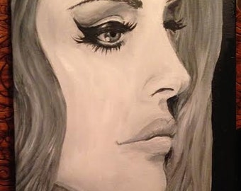 Lana Del Rey Black and White Acrylic Portrait