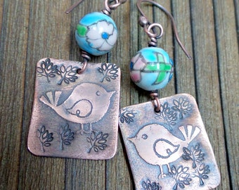 Etched Copper Whimsical Bird Earrings with Floral Ceramic Beads