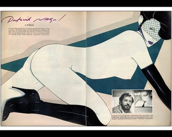 Playboy Vintage Pinup January 1985 Patrick Nagel Illustration 2 Page Sexy Nude Pinup Mature Wall Art Deco Print