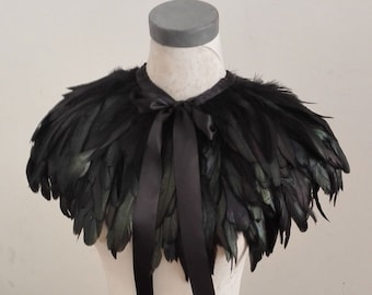 Gothic layered rooster coque feather cape #FC15027