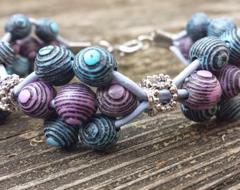 Purple and Blue Vintage Beads Bracelet