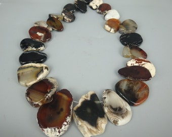 Natrual Brown Agate Slice Beads, Druzy Agate Gemstone Necklace for Lady
