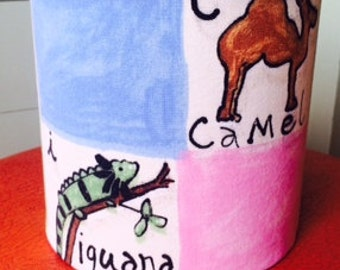Hand covered lampshade in beautiful alphabet/animal fabric
