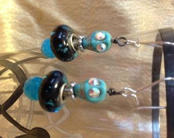 Turquoise Skull and Black Murano Dangle Earrings