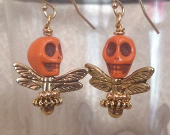 Orange Skull Fly Earrings