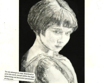 "1st Edition Print No 1, portrait ""Angie"" by Jeanne Flynn"