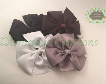 Solid Pinwheel Hair Bow • 4 inch Hairbow • 22 colors available •