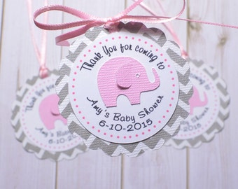 12 Elephant Thank You Favor tags, Personalized favor tags